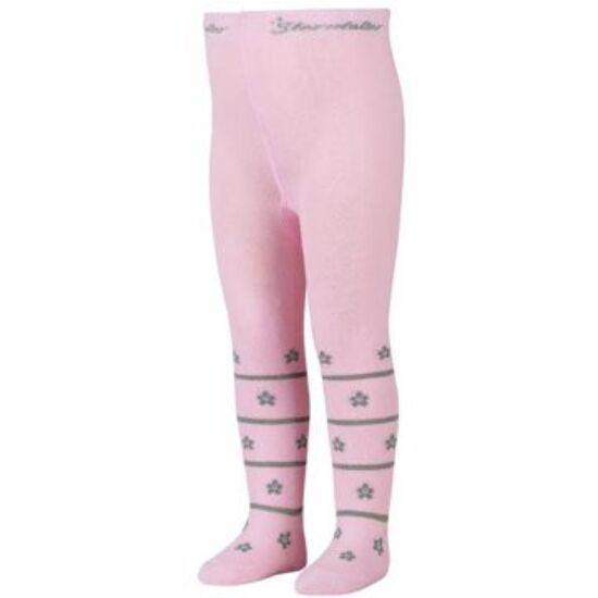 Sterntaler rózsaszín-ezüst virágos harisnya 110/116